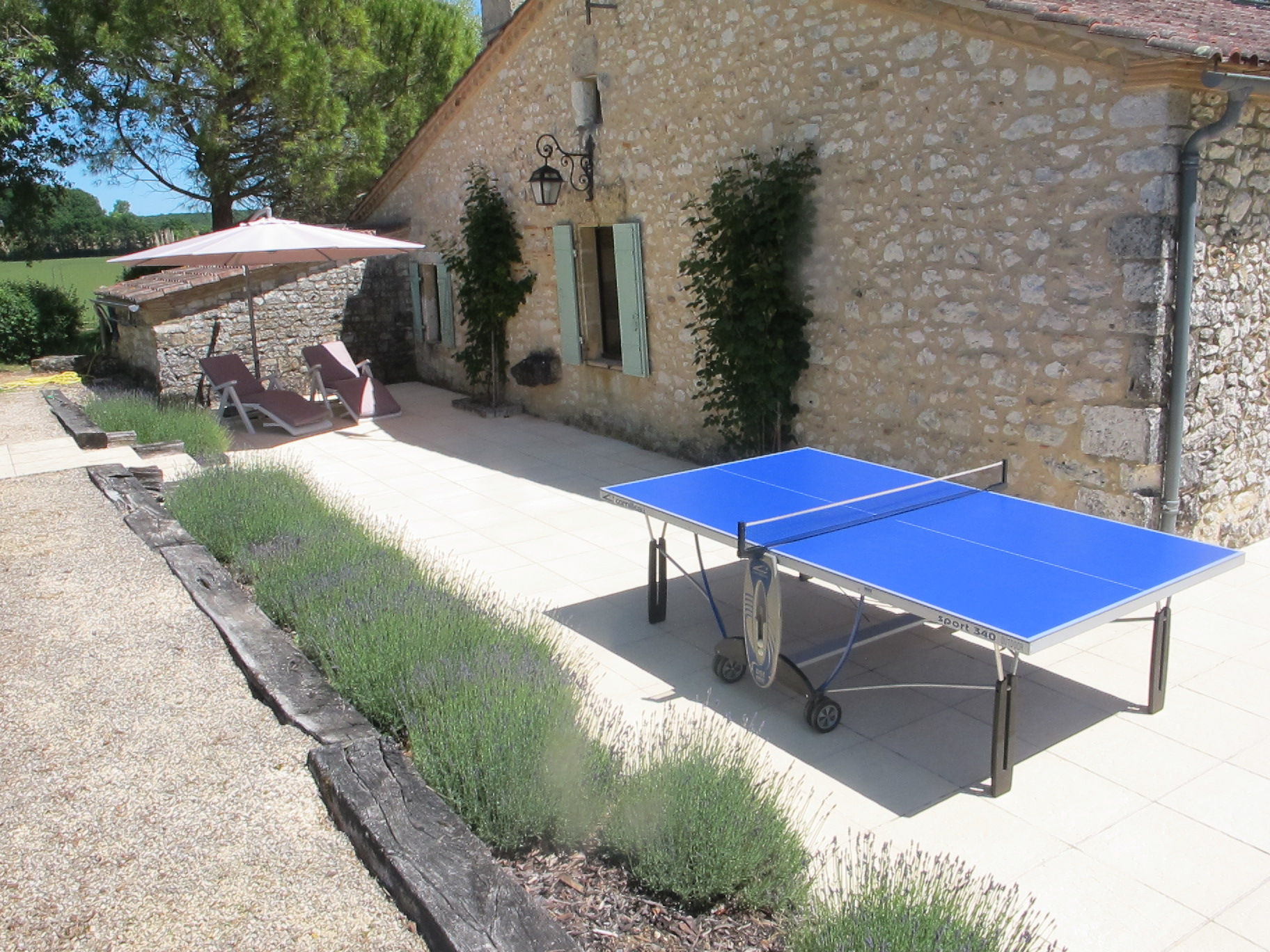 Table tennis on patio